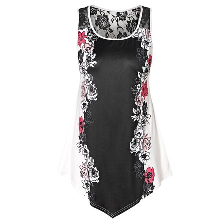 Womens Tops Womens Summer Tops, Sexy Plus Size Lace Panel Floral Tank Top