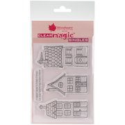 """Woodware Clear Stamps 3.5""""X5.5""""-Three Houses"""