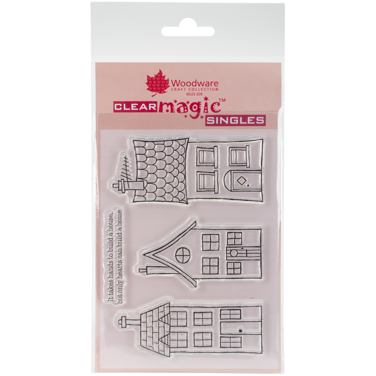 "Woodware Clear Stamps 3.5""X5.5""-Three Houses"
