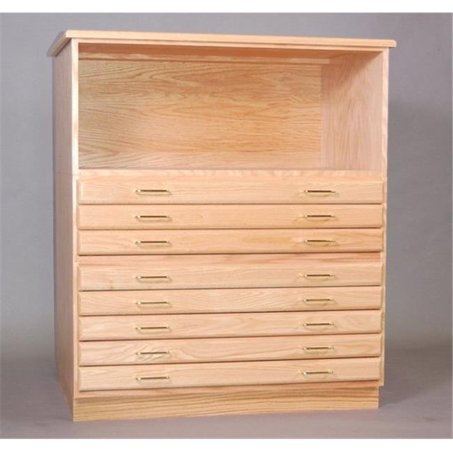 SMI F3042-5D-SDG Natural Oak Finish Oak Plan File 5 Drawers With Steel Drawer Guide