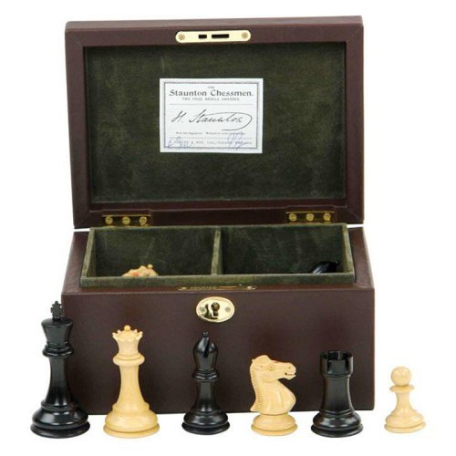 Jaques 3.5 in. Fischer Spassky Chessmen in Leather Box