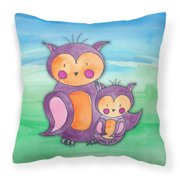 Momma and Baby Owl Watercolor Fabric Decorative Pillow