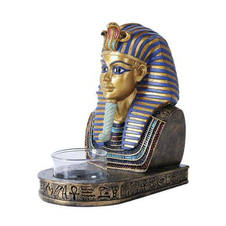 Nile River Dynasty Egyptian King Pharaoh Tutankhamun Tut Bust Mask Votive Candle Holder Figurine Collectible Statue