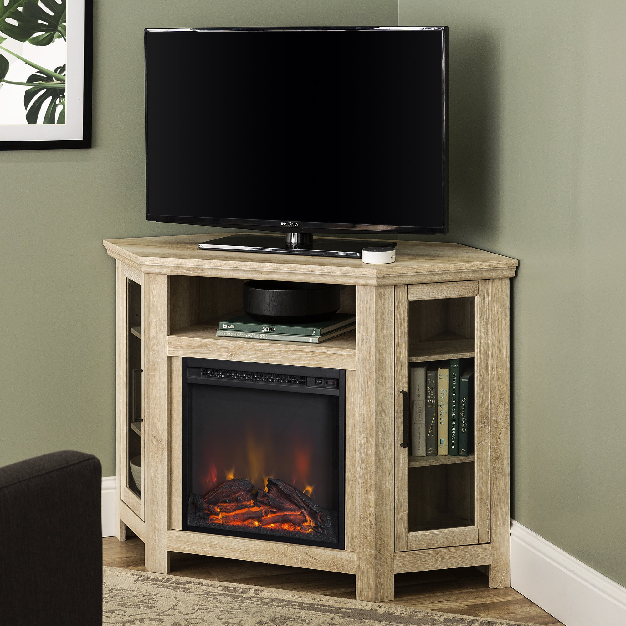 Walker Edison White Oak Corner Fireplace TV Stand for TVs up to 50