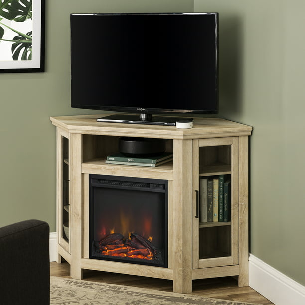 Walker Edison White Oak Corner Fireplace Tv Stand For Tvs Up To 55 Walmart Com Walmart Com