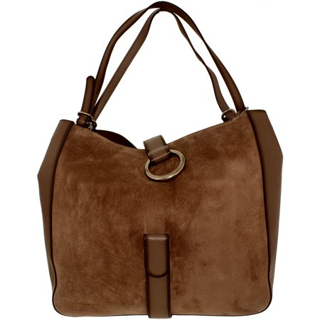 Suede Leather Tote Bag - Michael Kors Women's Large Quincy Suede Shoulder Leather Messenger Bag Tote - Cinder