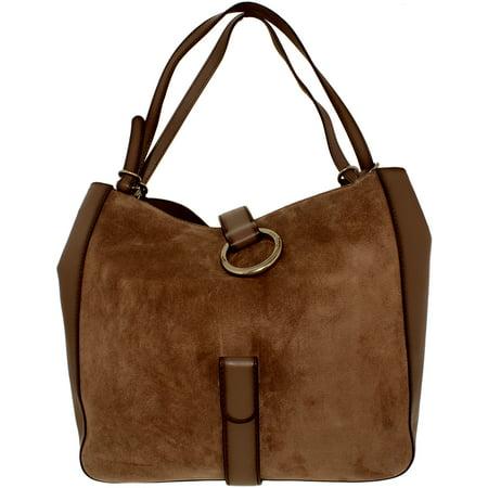 Michael Kors Women's Large Quincy Suede Shoulder Leather Messenger Bag Tote - (Suede Messenger)