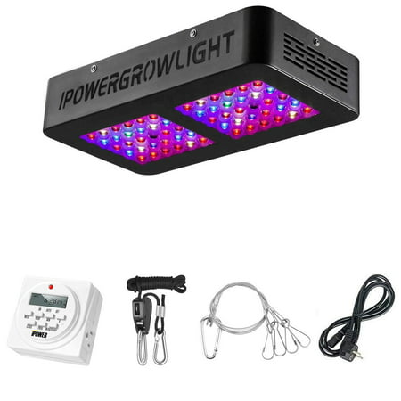 iPower 300W LED Grow Light with Digital Timer, with Adjustable Rope, Full Spectrum for Indoor Plants Veg and Flower
