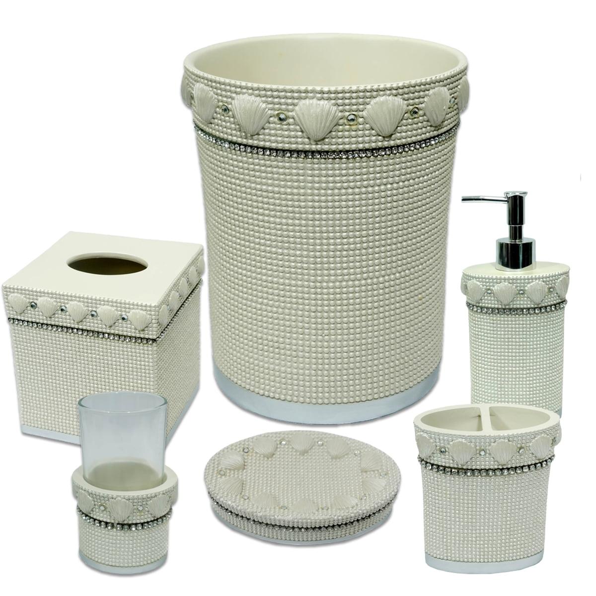 Popular Bath Shells & Diamonds Bathroom 6 Piece Bath Accessory Set- Beige by Popular Bath Products