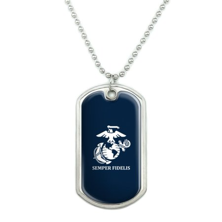 Marine Corps USMC Semper Fidelis Blue White Logo Officially Licensed Military Dog Tag Pendant Necklace with Chain Marine Corps Logo Dog Tag