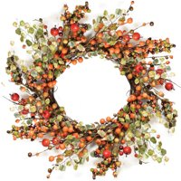 Northlight Seasonal Autumn Harvest 22'' Decorative Artificial Berries with Leaves Wreath