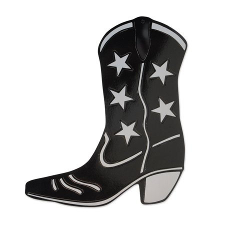 Club Pack of 24 Black and Silver Foil Country Western Cowboy Boot Silhouette Party Decorations 16