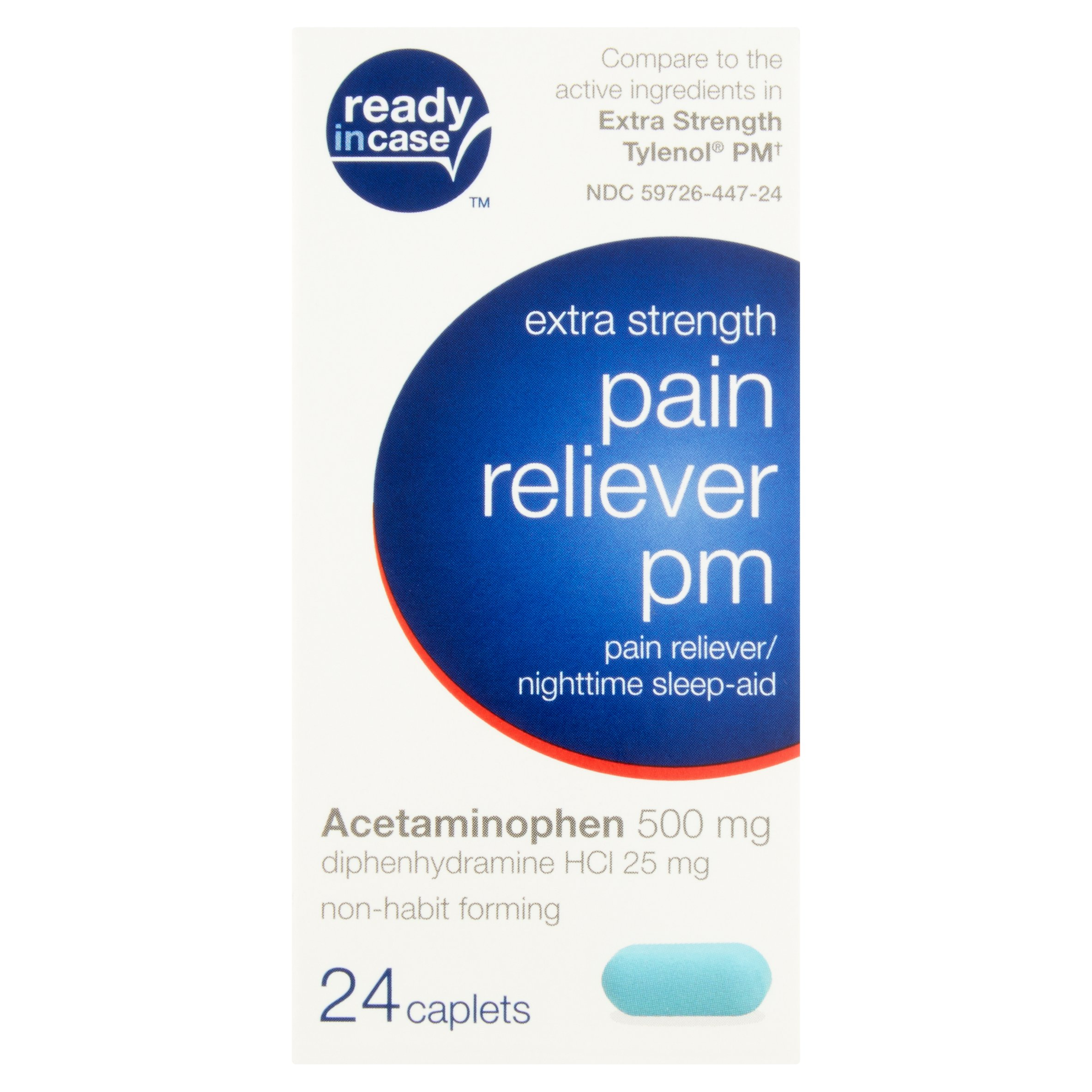 Ready in Case Extra Strength Pain Reliever Pm Caplets, 24 count