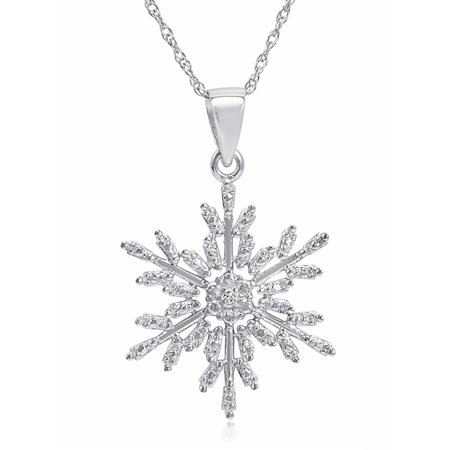 Diamond Snowflake Pendant Necklace in .925 Sterling Silver on an 18 inch Chain (Sterling Silver Snowflake)