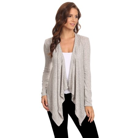 Women's Ribbed Cardigan Athleisure Short Draped Open Front Small to 3XL Made in USA ()