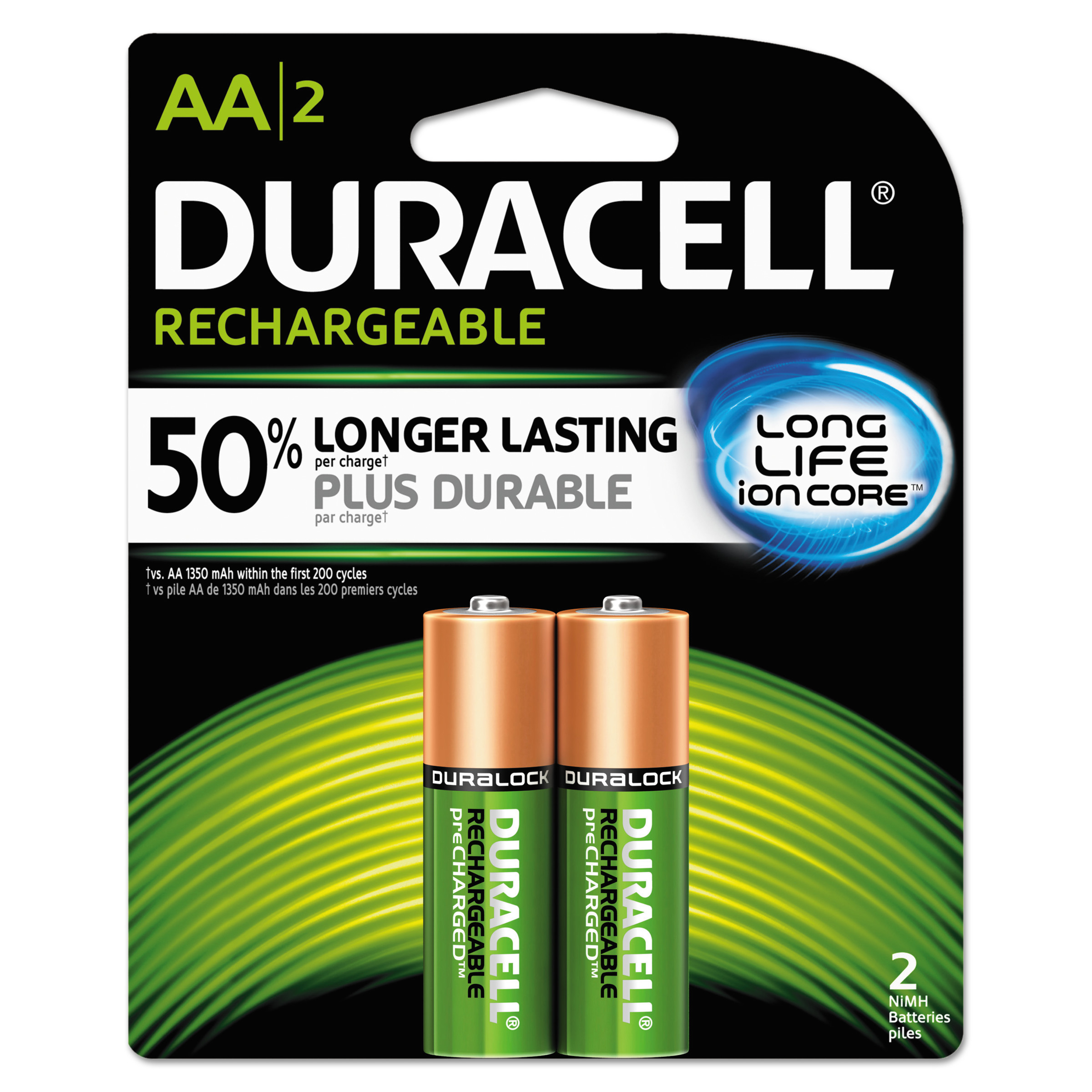 Duracell Rechargeable NiMH Batteries with Duralock Power Preserve Technology, AA, 2-Pack