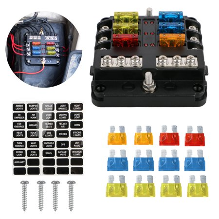6 way blade fuse holder box block case 12v/24v car truck boat marine bus rv  van - walmart com