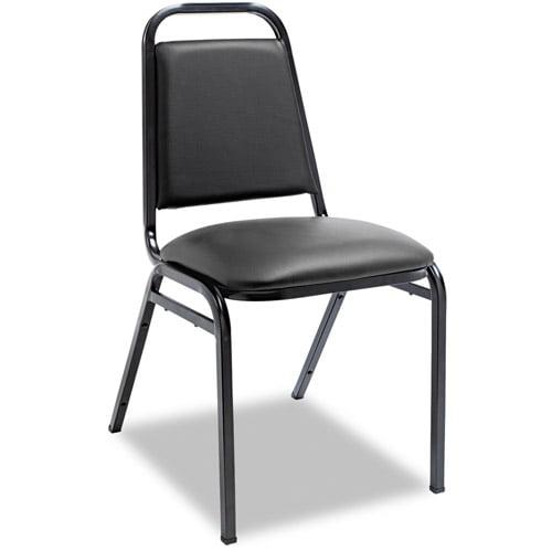 Alera Upholstered Stacking Chairs w Square Back, Black Vinyl, Black Frame by ALERA