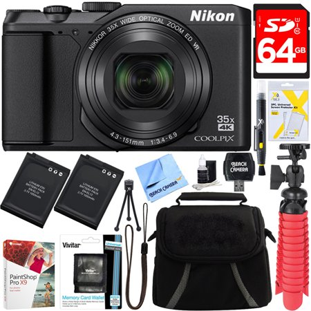 Nikon A900 20MP Longest Slim Zoom COOLPIX WiFi Digital Camera with 4K UHD Video 35x Telephoto NIKKOR Zoom Lens + 64GB Dual Battery Accessory Bundle (Black)](nixon black friday sale)