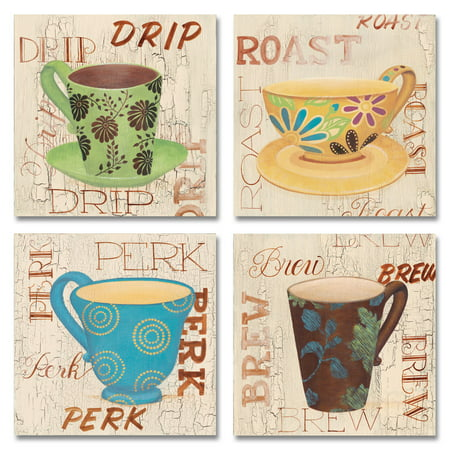 Morning Framed Poster - Morning Coffee I Lovely, Retro Coffee Cups, Perk, Drip, Roast, Brew; Kitchen Decor; Four 12x12 Poster Prints