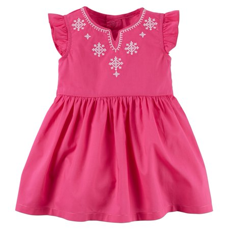 Carters Baby Girls Embroidered Flutter-Sleeve Dress Pink - Newborn Christmas Dress