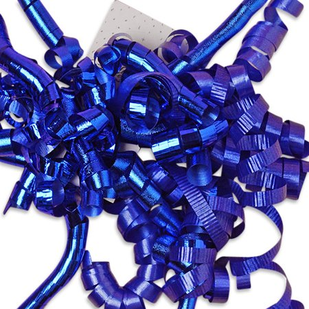 Royal Blue Decorative 5 inch Crimped Curly Ribbon Gift Bows, 24 pack - Curly Ribbon