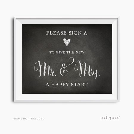 Sign Heart, Give Couple A Happy Start Vintage Chalkboard Wedding Party (Happy Heart Sign)