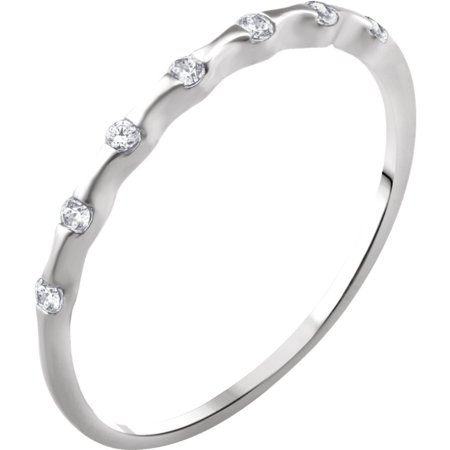 14k White Gold Size 7 Polished .06 Dwt Diamond Stackable Ring