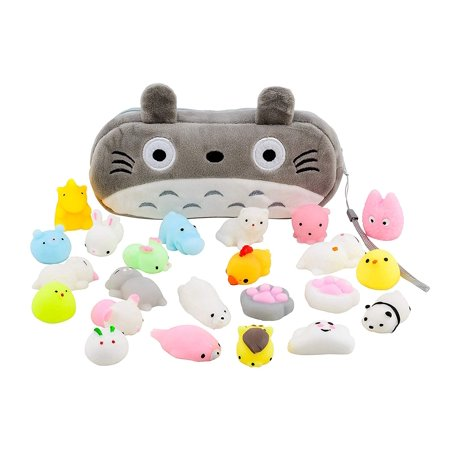 Mochi Squishy Toys 20-Pcs Pack - FREE Kawaii Cat Carrying Bag| Random Package of Mini Variety Animals Squishies Case| Cute Box of Animal Toy Set| Fun Birthday Present Idea for Girls + Boys Party Favor - Birthday Boy Party Ideas