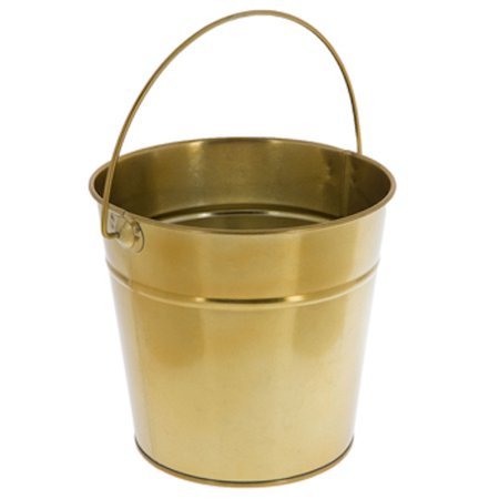 Medium Gold Metal Bucket Party Favor Decoration Gift 5 - Gift Buckets