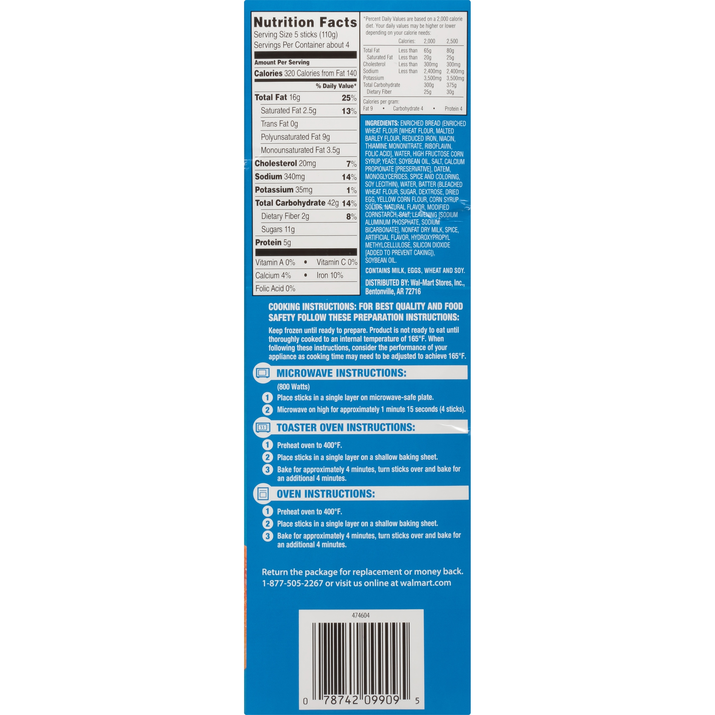 Great Value™ Orignal French Toast Sticks 16 oz. Box - Walmart.com