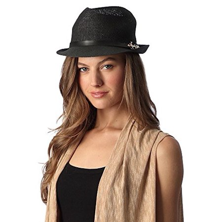 Women's Simple Sleek Design Fedora Hat (Black)](Fedora Black)