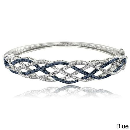 1/4 Ct Blue & White Diamond Weave Bangle Bracelet White Lucite Bangle