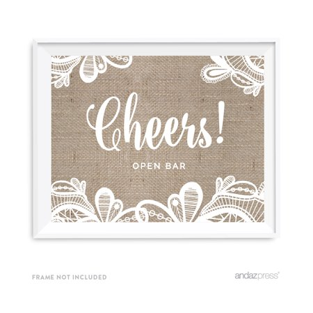 Open Bar Cheers! Burlap Lace Wedding Party Signs](Open Bar Wedding)
