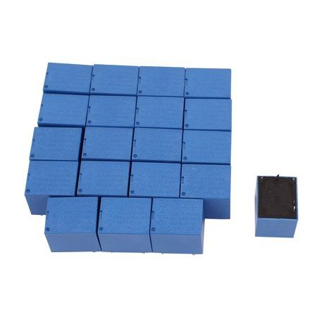 20Pcs DC12V 4 Terminal SPST NO Miniature Power Coil Electromagnetic Relay Blue