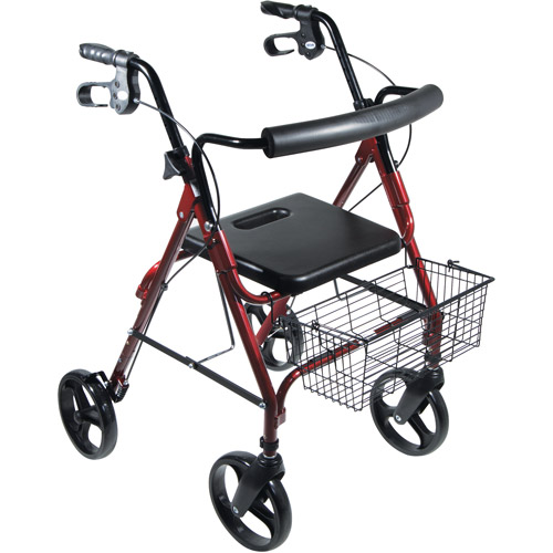 "Drive Medical DLite Lightweight Walker Rollator with 8"" Wheels and Loop Brakes, Red"