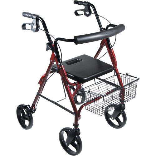 "Drive Medical DLite Lightweight Walker Rollator with 8"" Wheels and Loop Brakes, Red"