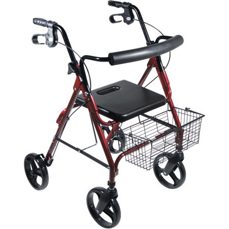 Drive Medical Dlite Lightweight Walker Rollator With 8   Wheels And Loop Brakes  Red
