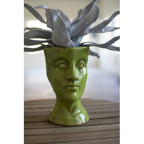 Ivy Bronx Artman Head Ceramic Statue Planter by Garden Planters