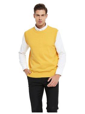 TOPTIE Men's 100% Cotton Knit Sweater Vest, Crew Neck Solid Color