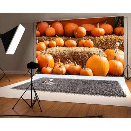 GreenDecor Polyester Fabric 7x5ft Gold Halloween Photography Backdrops Pumpkins Yellow Straw Photo Booth Props for Children Party