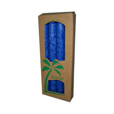 Aloha Bay Palm Tapers 9 Inches Unscented Royal Blue Candles - 4 Ea, 3 Pack