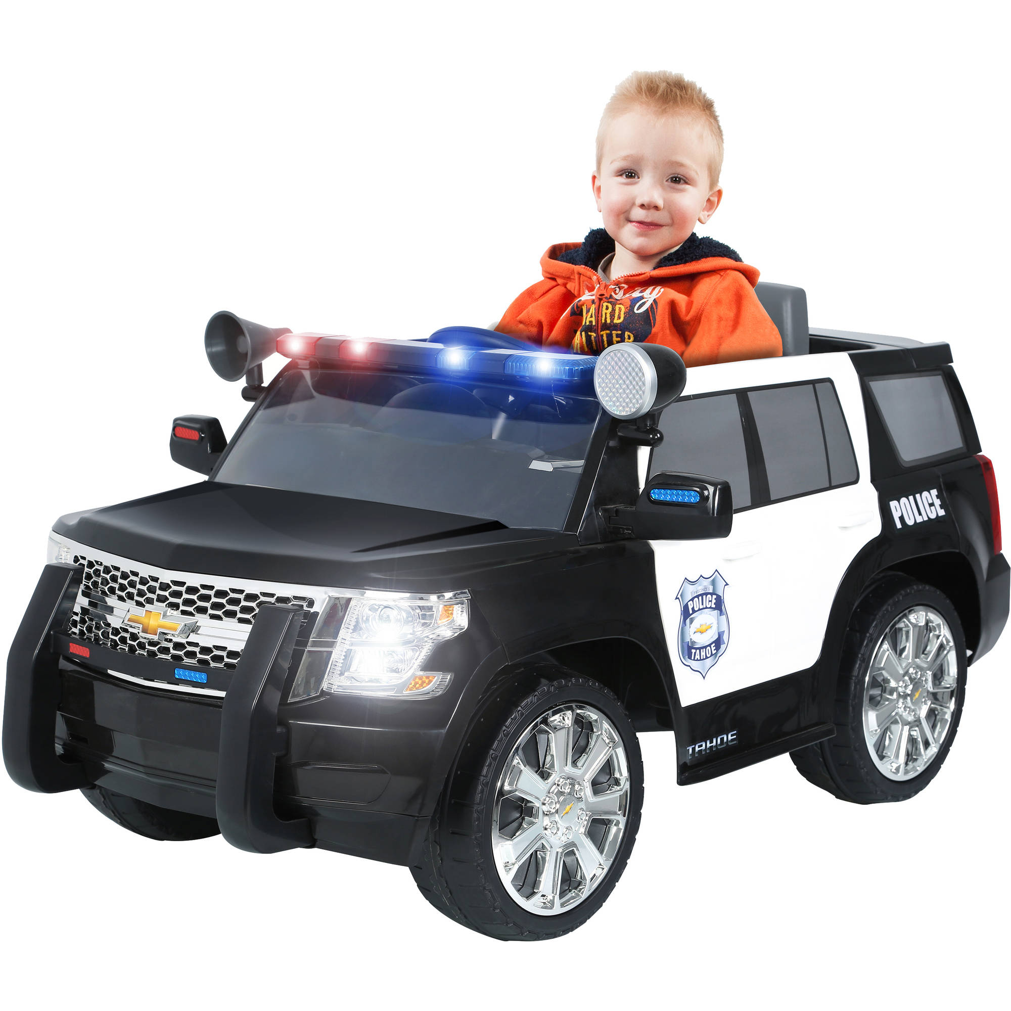 Electric cars for kids to ride on chevy tahoe police suv 6 for Motorized vehicles for kids