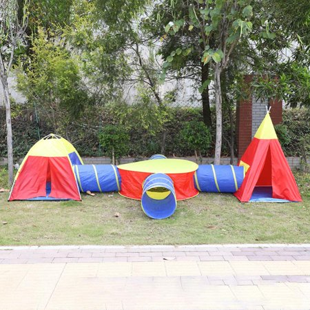 7 in 1 Kids Play Tent,One Round Tent One Triangle Tent With Four Crawl Tunnels And One Circle Center,Large Outdoor/Indoor Baby Child Playhouse Ball Pits - Perfect Toys For Toddlers