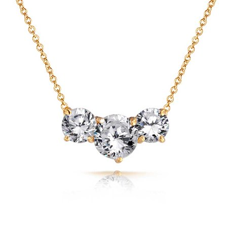 Past Present Future Jewelry Set (Bling Jewelry CZ Past Present Future Station Necklace Gold Plated 16in )