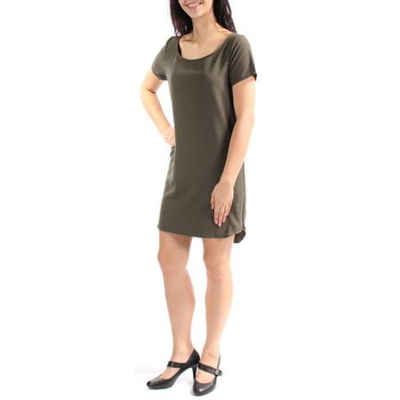 BAR III Womens Green Zippered Short Sleeve Scoop Neck Mini Shift Dress  Size: M