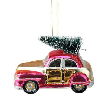 Northlight 4.75 Festive Glittered Car with Christmas Tree Christmas Ornament