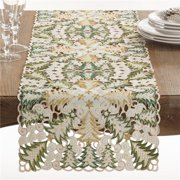 Saro Lifestyle QX296.W1668B Panettone Collection Holiday Christmas Tree Cutwork Table Runner, White