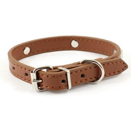 Unique Bargains Single Prong Buckle Silver Tone Bone Detail Brown Adjustable Dog Pets Collar