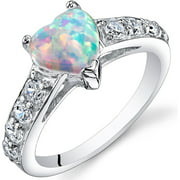 1 ct Heart Shape Created White Opal Ring in Sterling Silver
